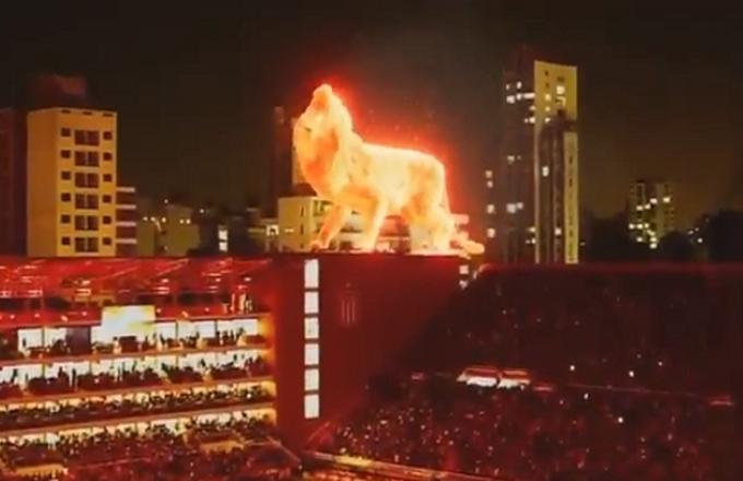 Il Leone di fuoco: spettacolari effetti speciali per il nuovo stadio dell'Estudiantes